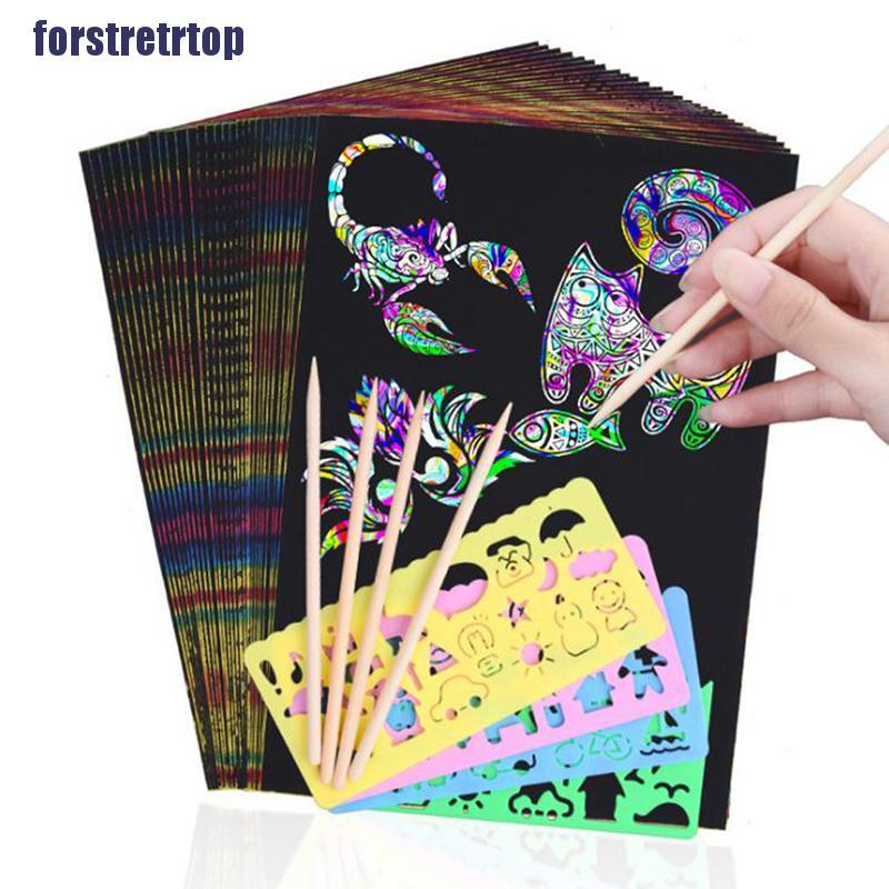 【FSTTTOP】50 Sheets Magic Color Rainbow Paper Card with Graffiti Stencil DIY Pa