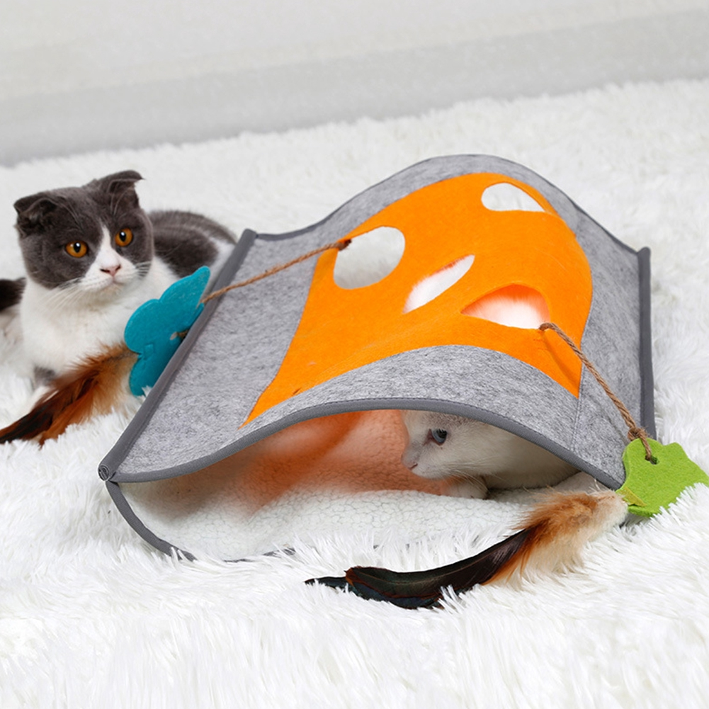 Playing Cat Supply Multifunction Non Slip Training Interactive Toys Tunnel Hide And Seek Sleeping Bag
