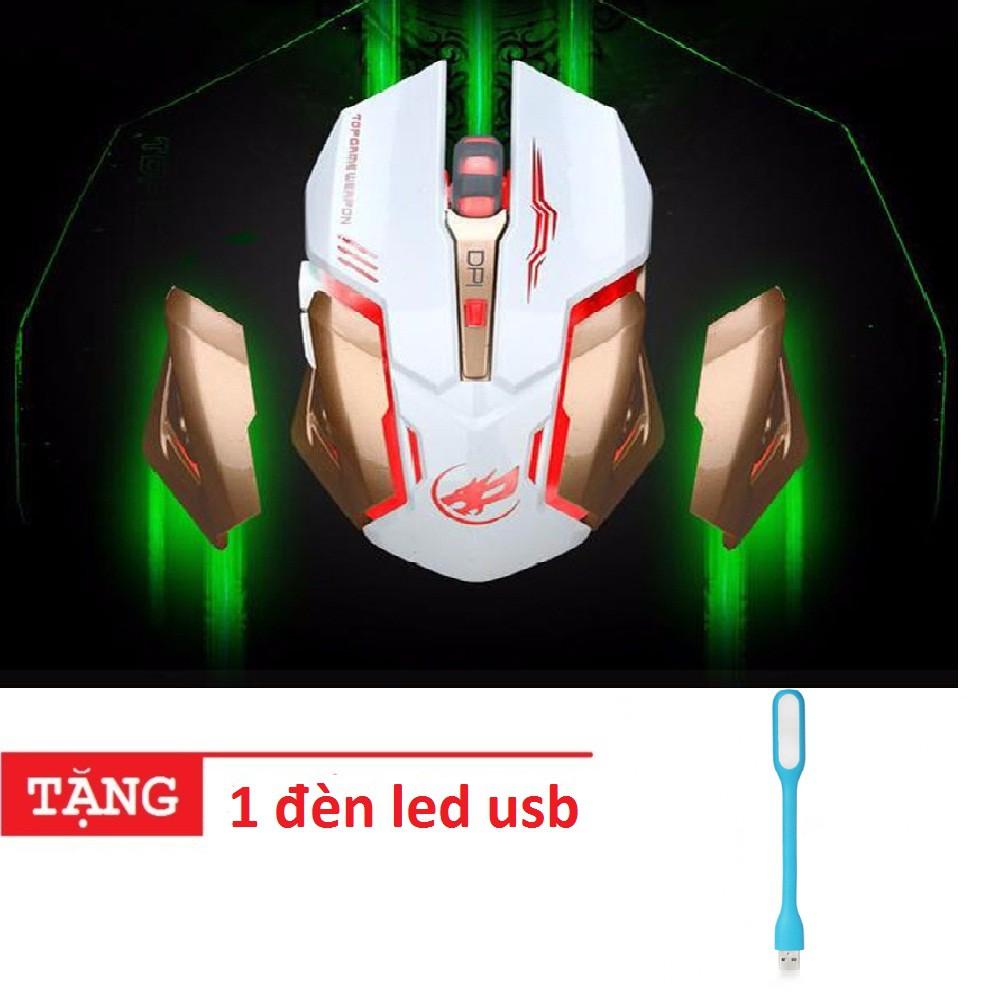 Chuột không dây Warwolp T1 led 7 màu-pin sạc-vesion 2018 -dc2596 tặng 1 đèn led usb