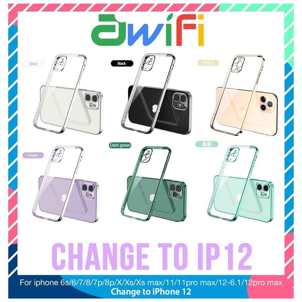 Ốp lưng iphone viền si cạnh vuông 5/5s/6/6plus/6s/6splus/7/7plus/8/8plus/x/xr/xs/11/12/pro/max/plus/promax - Awifi X1-6
