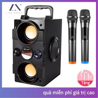 Loa karaoke Bluetooth [2 micro không dây] di động loa âm lượng cực đại 100W, pin 2500 mA, phát liên tục trong 8 giờ