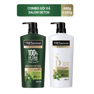 """Combo Dầu gội 640g và Dầu Xả 620g Tresemmé Salon Detox gừng và trà xanh Detox tóc chắc khỏe giá chỉ còn <strong class=""""price"""">27.900.000.000đ</strong>"""