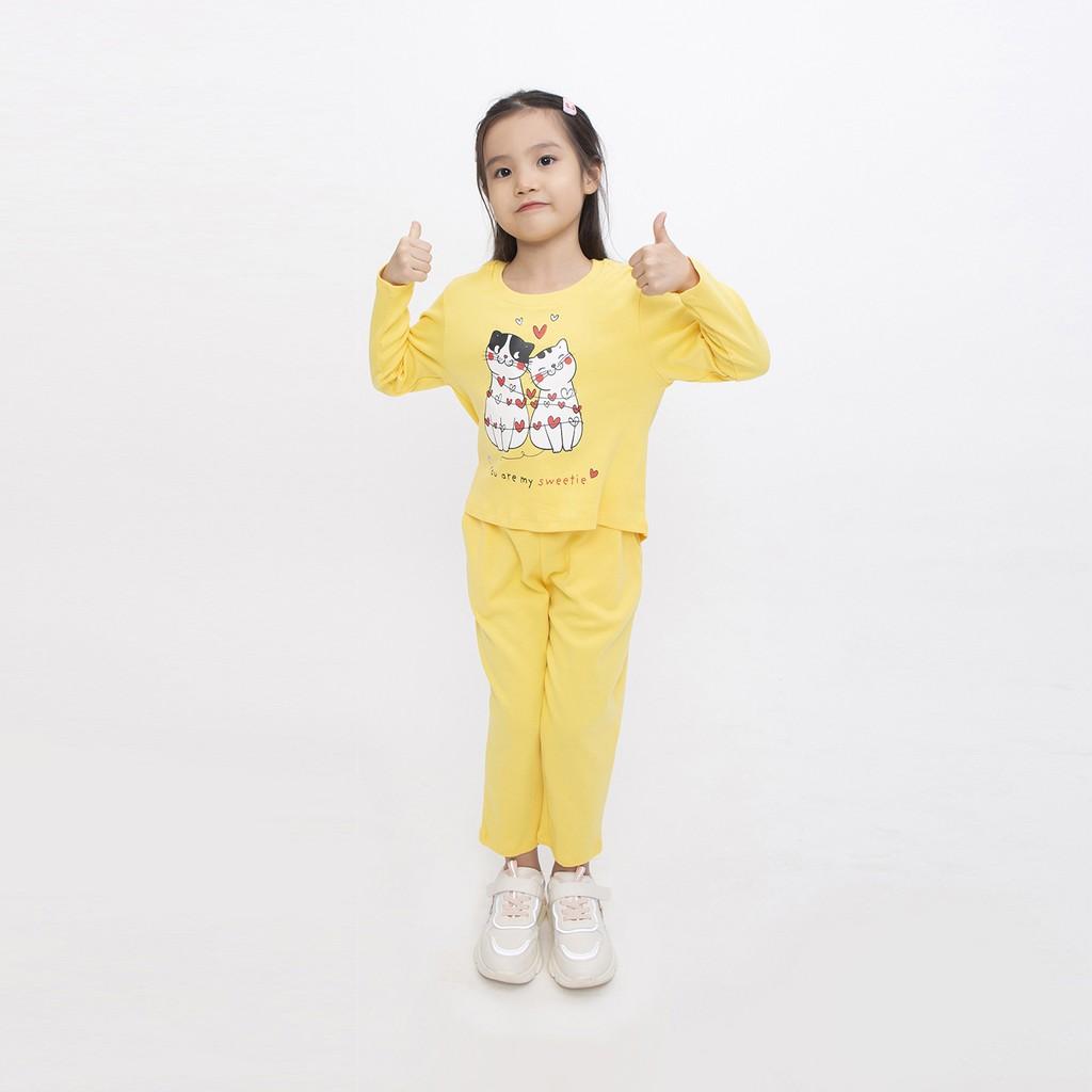 Bộ thu đông bé gái Narsis KM0026 màu vàng chất Cotton