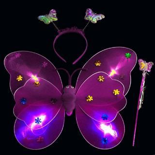 LED Butterfly Toy Double Layers Flashing Toys Kid Girl Princess Birthday Christmas Costume Light Up Wing Wand Headband 3 PCS/Set
