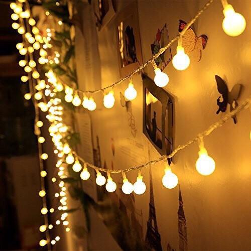 Đèn Led Xài Pin Không Chớp Nháy-Dài 3M 20 Bóng Đèn Cherry Ball Trang Trí Tiệc Noel Lễ Tết Phòng Ngủ Giá Rẻ