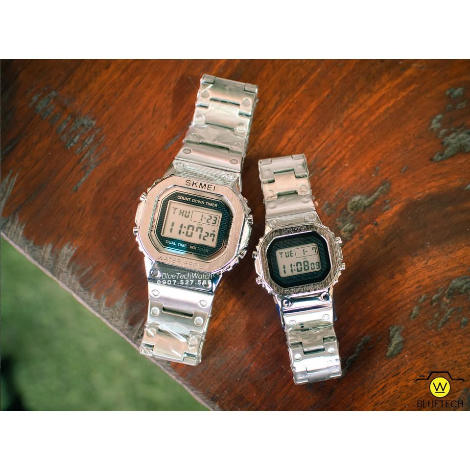 Đồng hồ Đôi SKMEI 1456/1433 điện tử dây thép không gỉ DÂY BẠC-VIỀN BẠC
