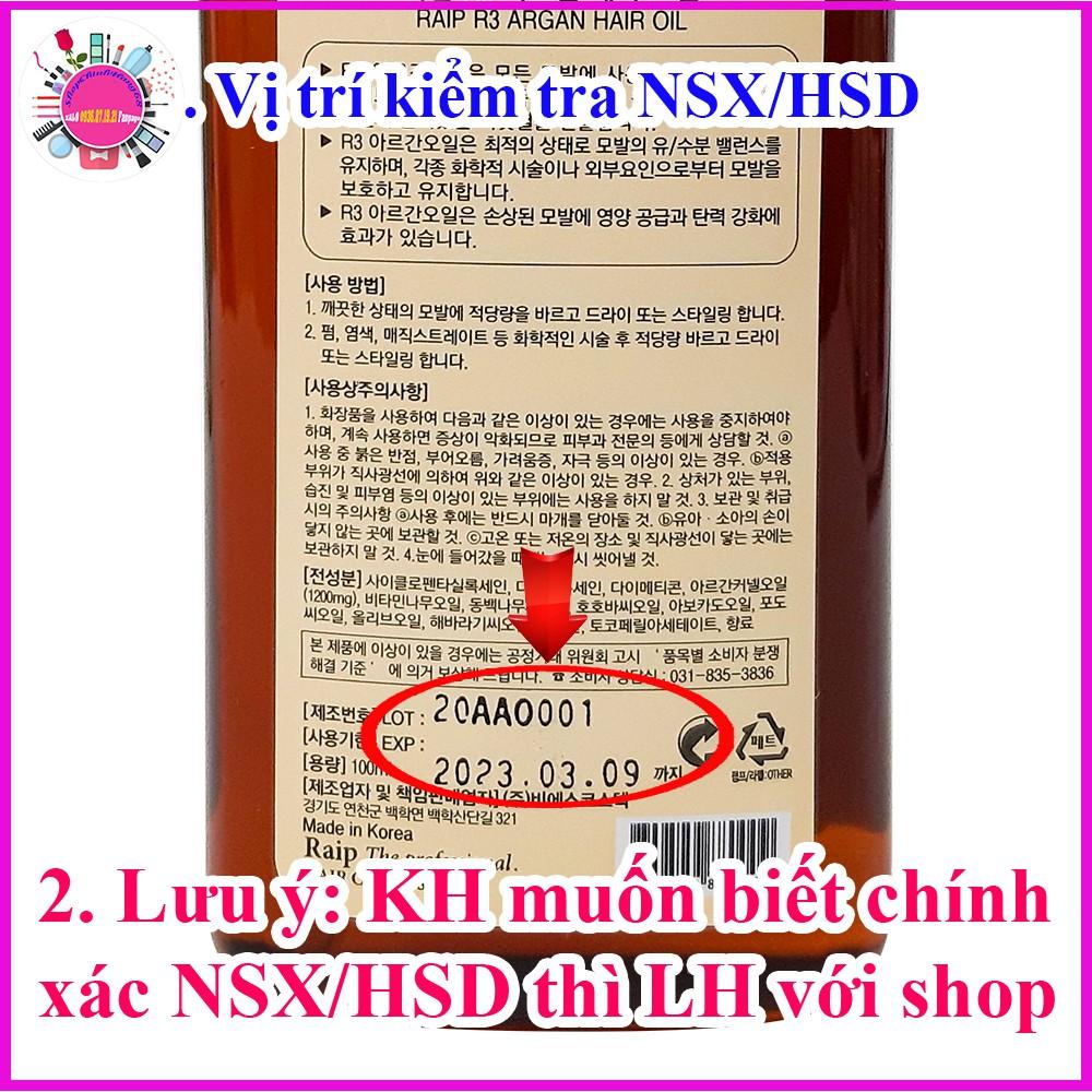 Dầu Dưỡng Tóc RAIP R3 Argan Hair Oil Phục Hồi Tóc Hư Tổn
