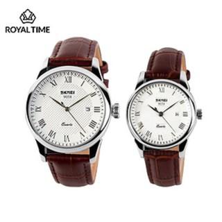[Tặng vòng tay] Đồng hồ đôi SKMEI chính hãng SK9058.01 dây da chống nước cao cấp