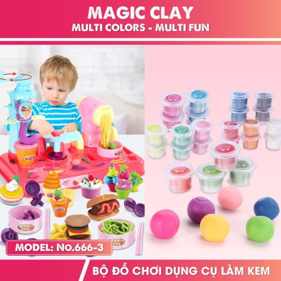 Đồ chơi đất nặn làm bánh làm kem Magic Clay cho bé từ 3 tuổi
