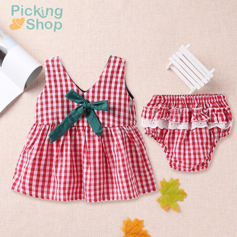 2pcs/set Summer Bowknot Plaid Lace Cute Kids Girls Sundress + PP Underpants