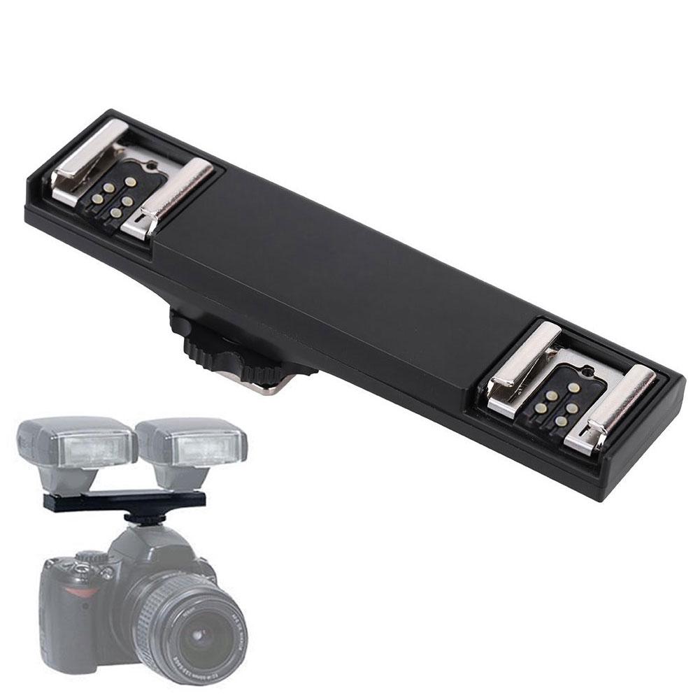 Black ABS Dual Flash Splitter Bracket TTL Speedlite Hot Shoe For Nikon DSLR Camera