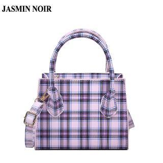 Túi Đeo Chéo JASMIN NOIR Kiểu Vuông Nhỏ Họa Tiết Sọc Caro Dây Mỏng Thời Trang Hàn Quốc Cho Nữ