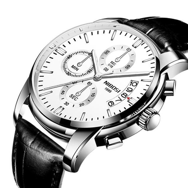 [Tặng vòng tay]Đồng hồ nam NIBOSI NI2353.15 (dây da) fullbox chính hãng cao cấp