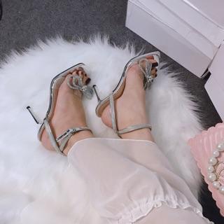 [Hàng loại 1 nơ full đá] Sandal cao gót quai ngang trong Nơ đính đá gót nhọn hàng cao cấp thumbnail