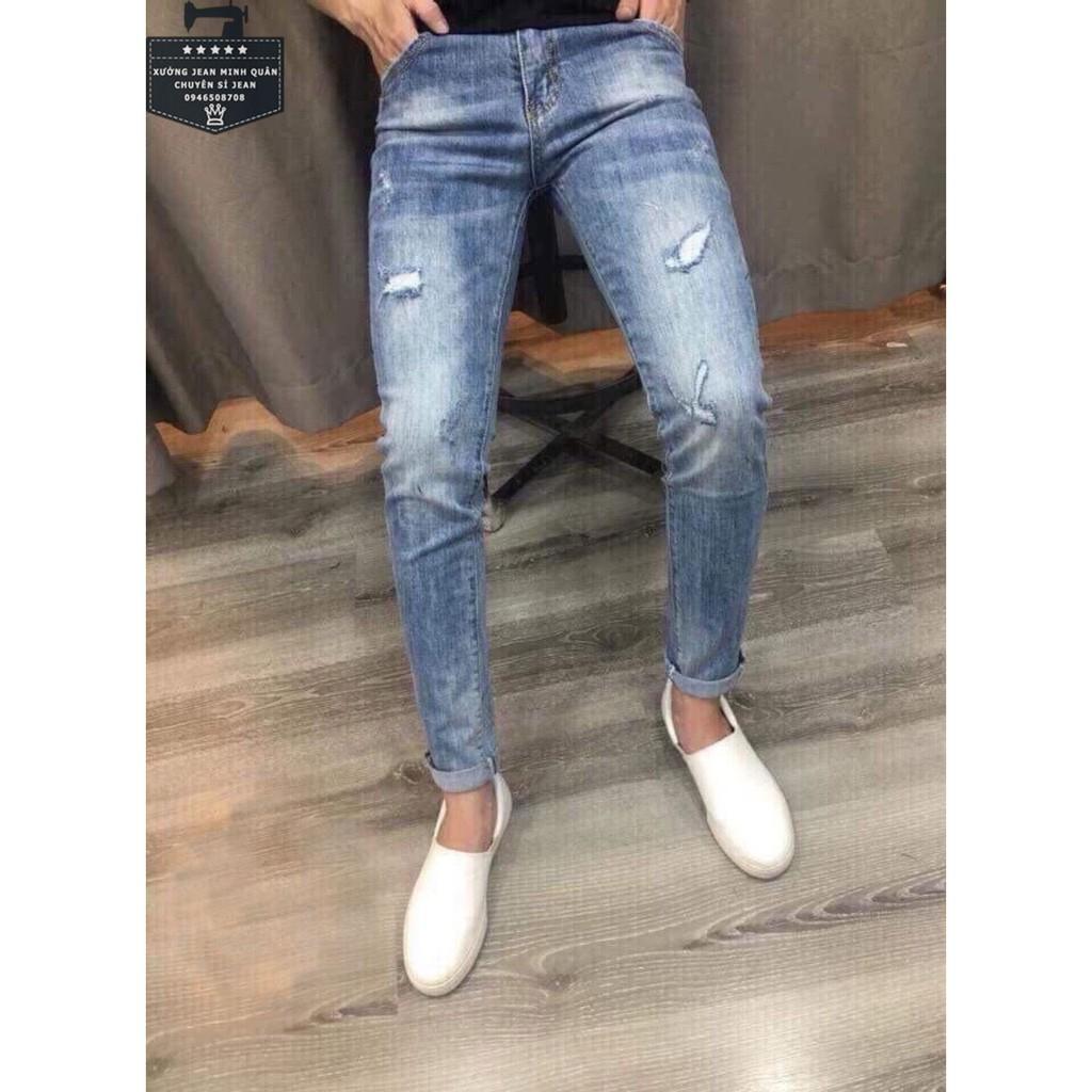 Quần jean nam màu xanh rách gối ống đứng phong cách Hàn Quốc Quần Jean