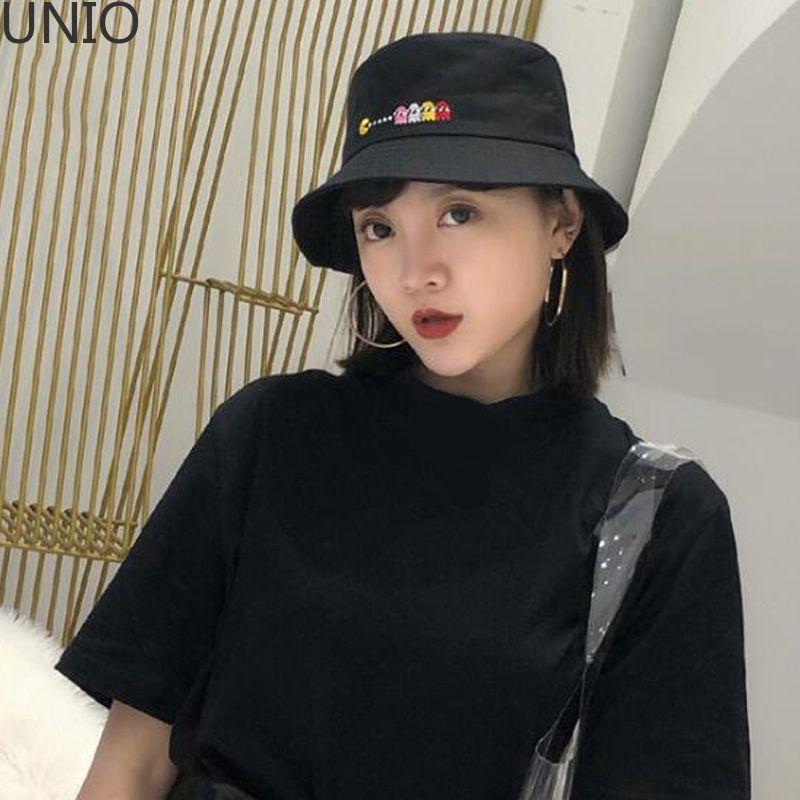 UNIO Men Women Solid Color Embroidered Fishermen Hat Outdoor Sun Protection Sun Cap