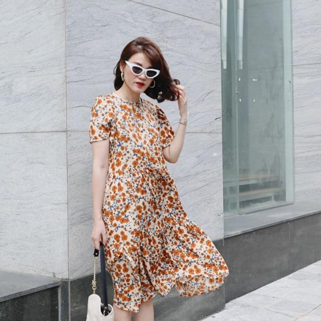 Đầm hoa nâu