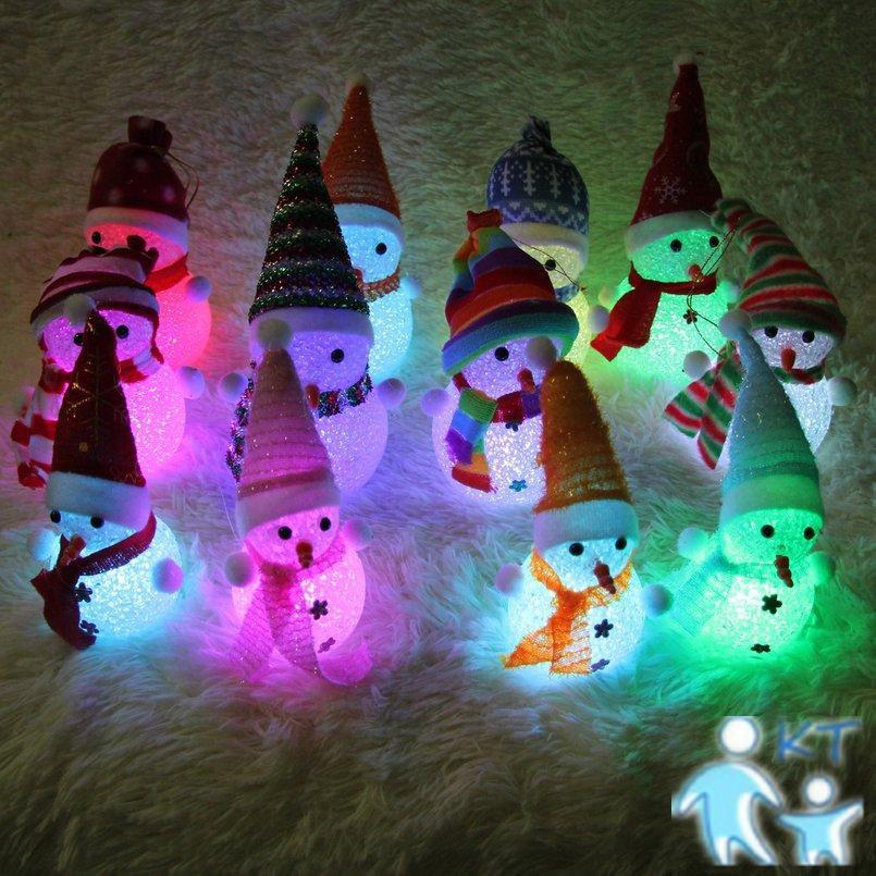 Đèn Ngủ Hình Người Tuyết Đội Mũ Giáng Sinh