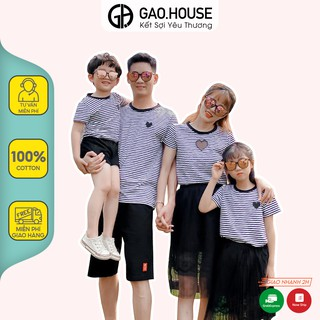 Áo gia đình hình trái tim Gạo House cotton 4 chiều cổ tròn kẻ ngang đen thumbnail