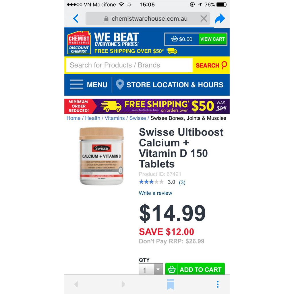 Swisse Ultiboost Calcium + Vitamin D 150 Tablets - Viên uống chống loãng xương tăng cường canxi cho