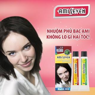 Nhuộm phủ bạc dược thảo Amiseven nhanh 7 phút AMI SEVEN  (Loại tiết kiệm) S5R (60g + 60g) Hàn Quốc