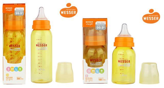 Bình sữa Wesser Nano Silver cổ hẹp cho bé 140ml và 250ml