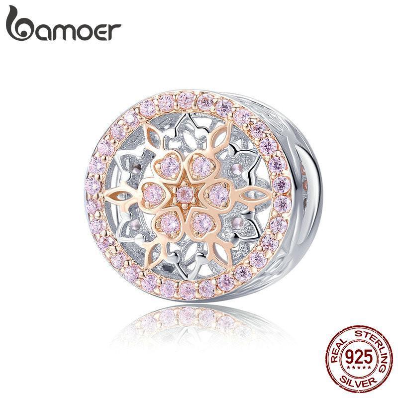 Hạt charm Bamoer trang trí dây chuyền mạ vàng hồng điêu khắc hoa đính đá zircon