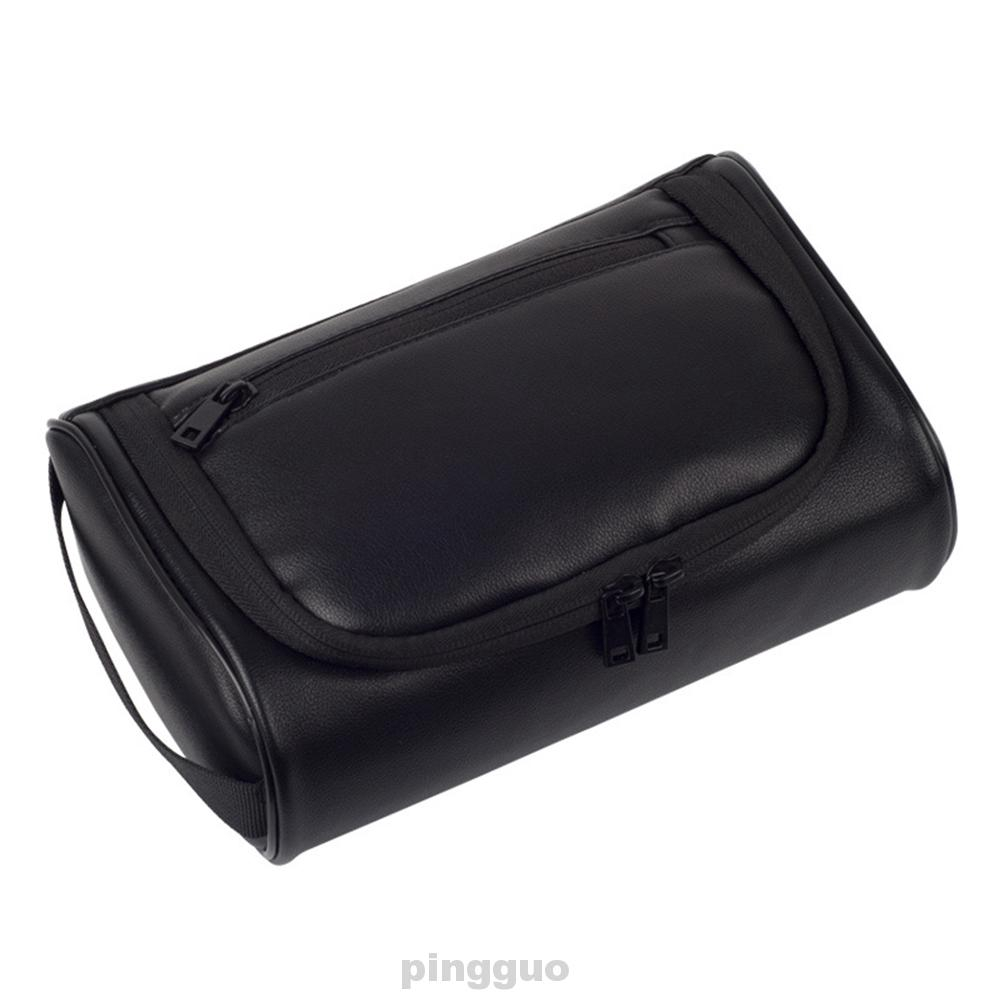 Men Business Cosmetic Fashion Large Capacity PU Leather Wash Storage With Carry Handle Waterproof Makeup Bag
