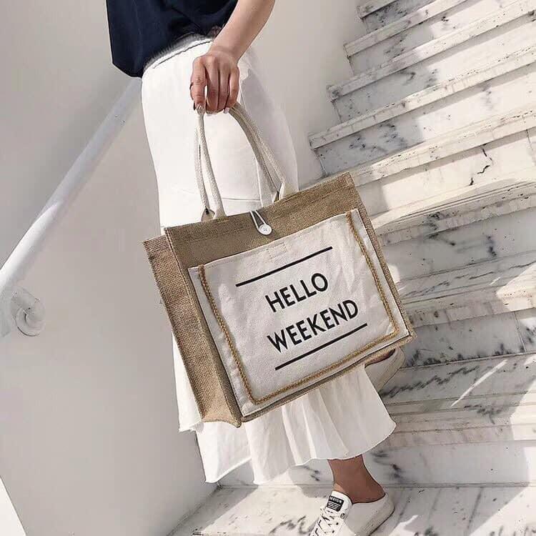 Túi cói HELLO 𝑾𝒆𝒆𝒌𝒆𝒏𝒅