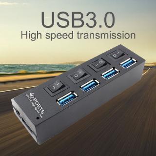 Thiết bị HUB tốc độ cao USB 3.0 di động 4 cổng riêng biệt với nguồn điện