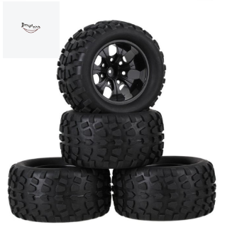 4PCS Truck Wheel Tires D128mm Rubber Tire 128x65mm Wheels in 12mm Hex Adapter for 1/10 HSP 94111 94188 Off-Road RC Cars,A