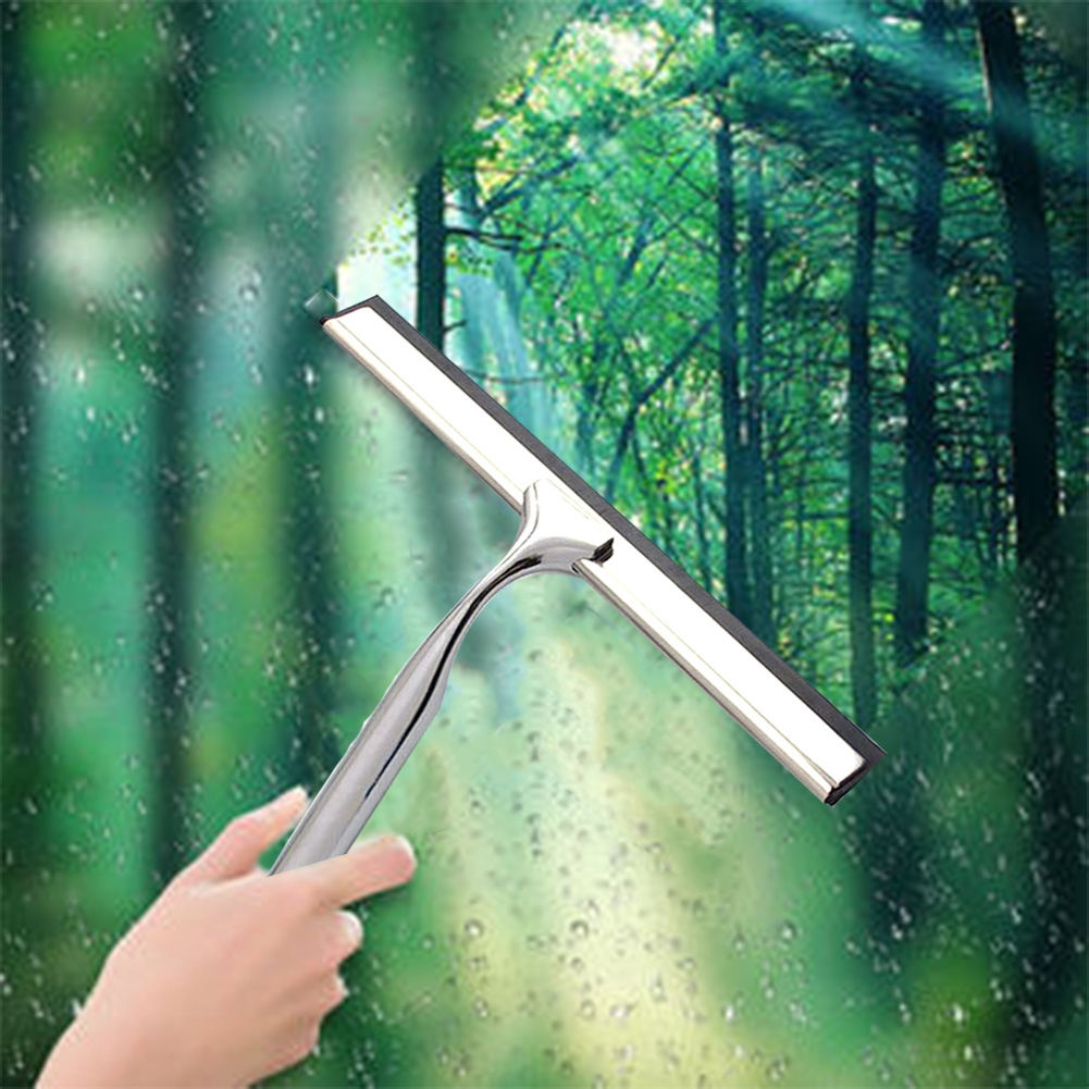 Nail-free Bathroom Stainless Steel Rustproof Wall Mount Rubber Sheet Shower Squeegee T-shape Suction Cup Window Wiper