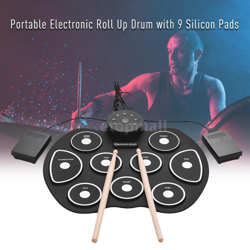 🔥🔥 Compact Size USB Roll-Up Silicon Drum Set Digital Electronic Drum Kit 9 Dru