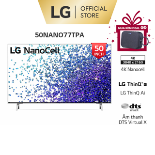 [Mã ELLGHOT giảm 10% đơn 200K] Smart Nanocell Tivi LG 4K 50 Inch 50NANO77TPA ThinQ AI - Model 2021 - Miễn phí lắp đặt thumbnail