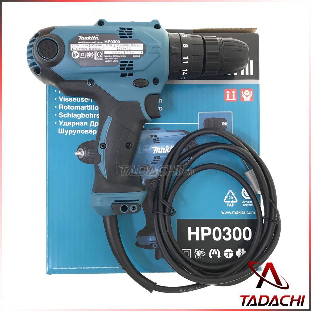 Máy khoan búa và vặn vít dùng điện Makita HP0300 (tặng kèm bộ giữ vít), Giá  tháng 10/2020