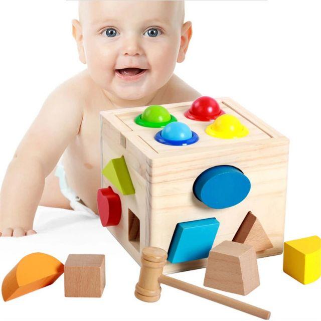 Hộp thả hình khối kết hợp đập bóng bằng gỗ
