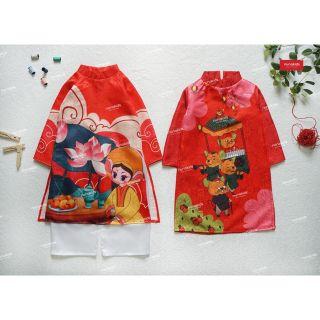 Set áo dài canh tý cho bé trai, gái màu đỏ