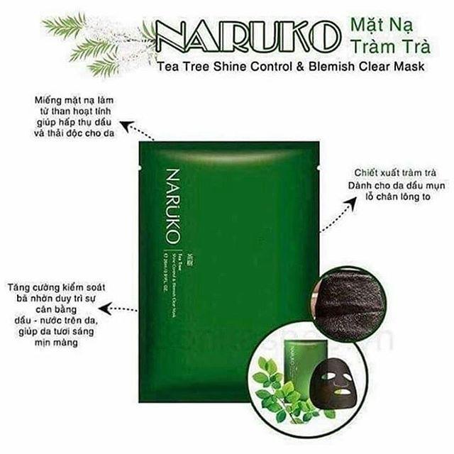 DỦ BILL - DATE 2022 Hộp 8 miếng mặt nạ kiểm soát dầu và mụn trà tràm Naruko Tea Tree 26ml/m (Bản Đài)