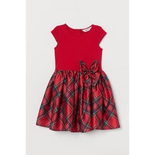Váy xòe đỏ caro nơ eo HM H&M sz 4-6y_hàng chính hãng authentic