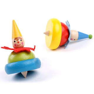 Mini Wooden Clown Modeling Gyro Spinning Tops Classic Educational Toy