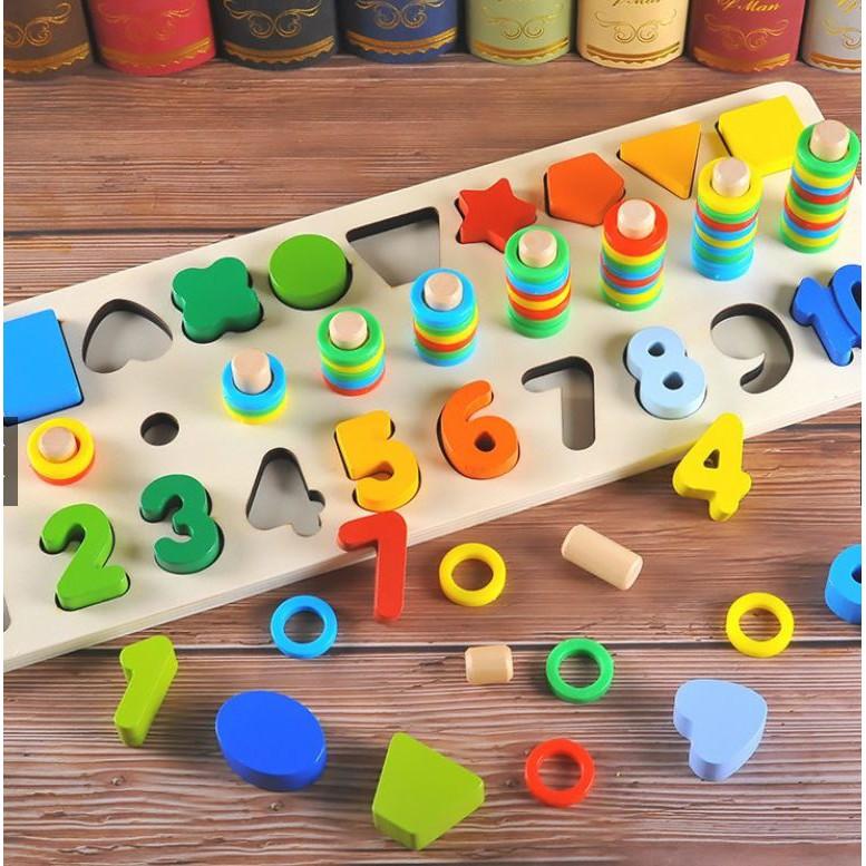 Đồ chơi gỗ – Bộ Cọc Toán – Hình khối – chữ số 3in1