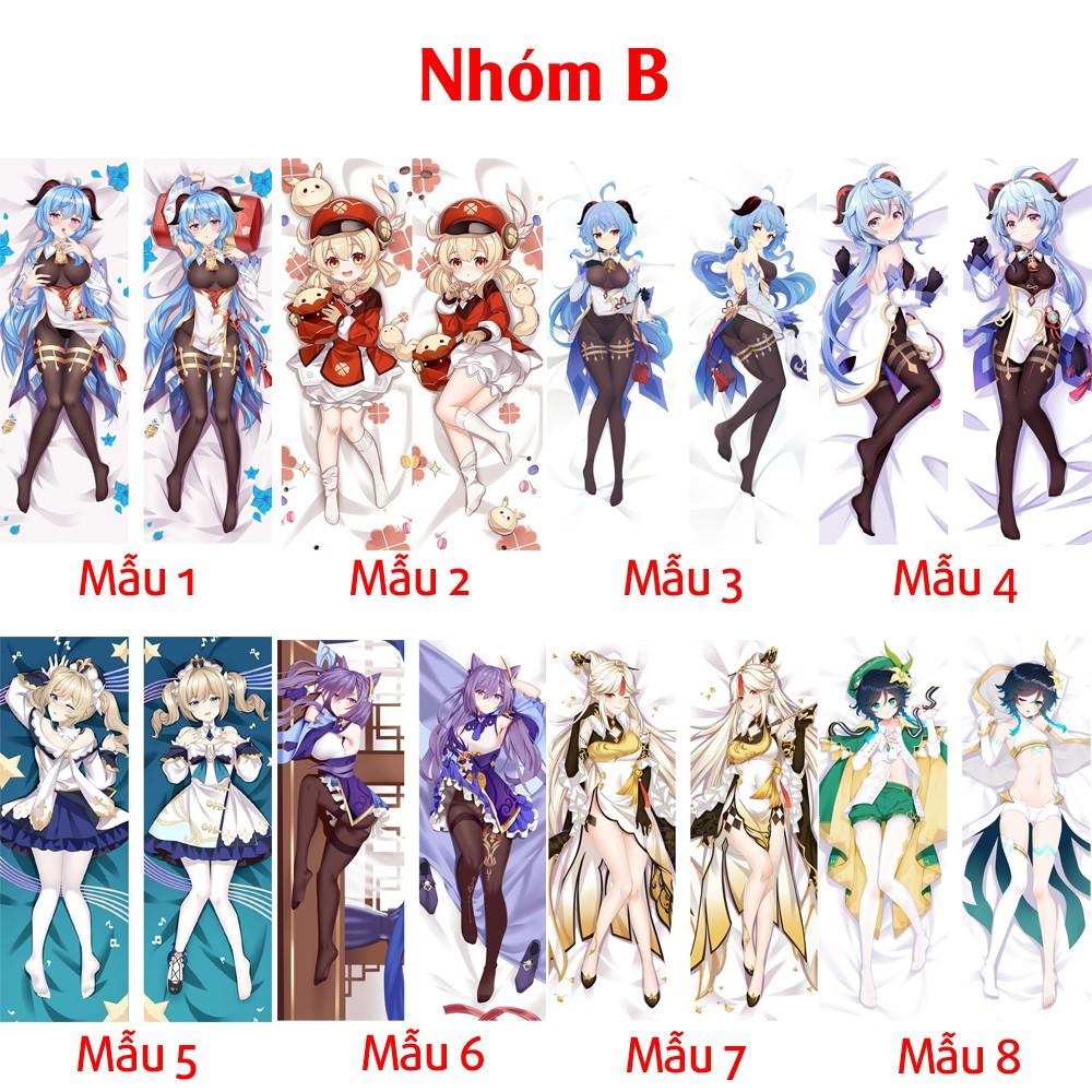 {48 mẫu Dakimakura} Vỏ Gối ôm Anime Game Genshin Impact siêu to dài 1,5mx50cm hàng có sẵn và đặt theo yêu cầu