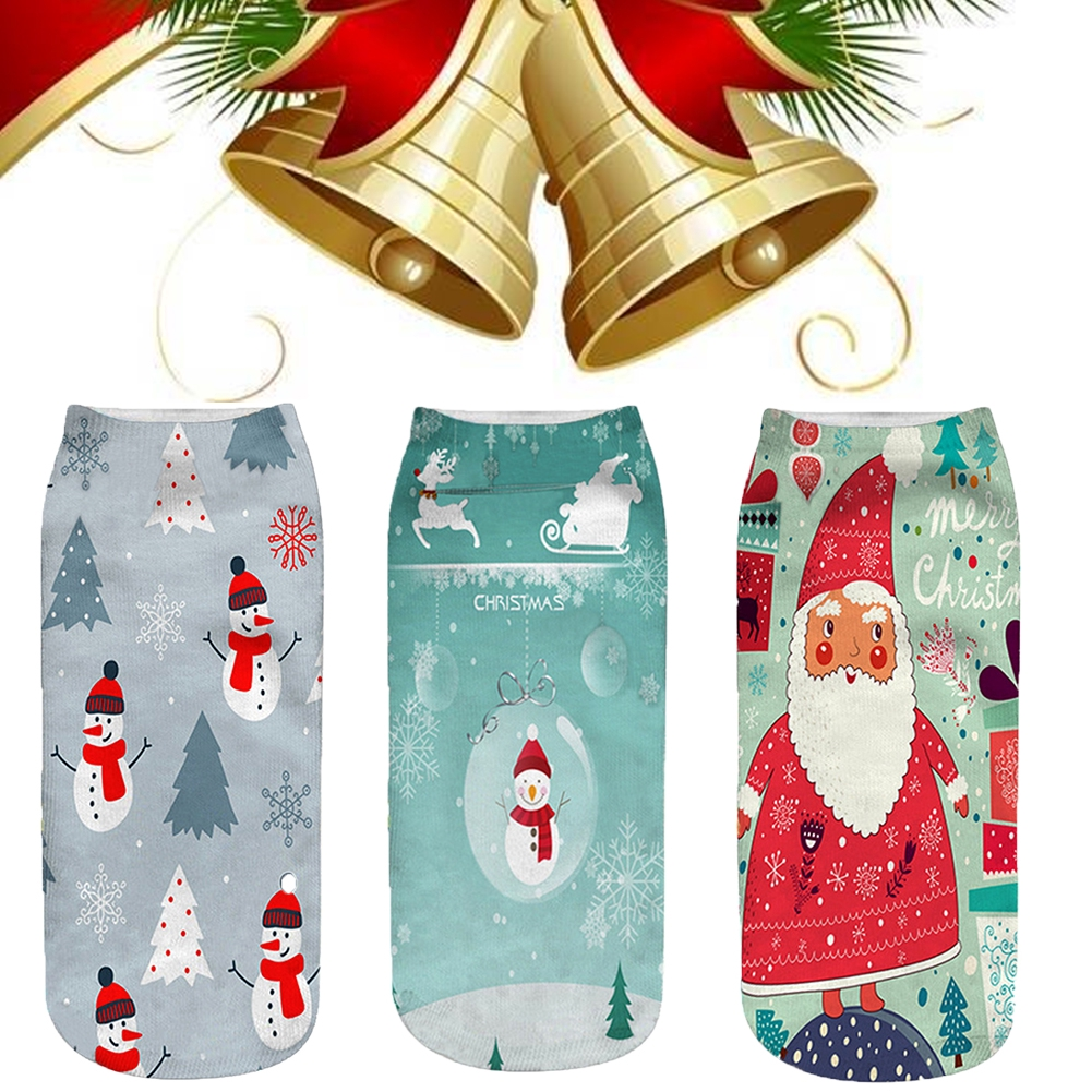 Santa Claus Gift 3D Printed Elk Socks Snowman Funny New Year Christmas Cute