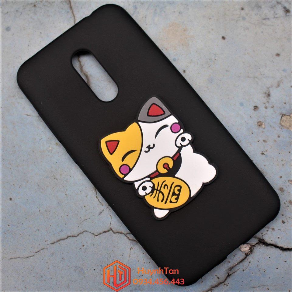 ỐP lưng Xiaomi Redmi 5 Plus dẻo đỏ phủ bóng gắn logo mèo may mắn