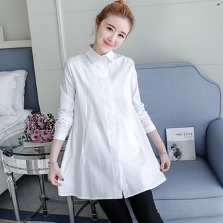 Đầm Sơ Mi Tay Dài Dáng Rộng Thời Trang Mùa Xuân 2019 Cho Mẹ Bầu