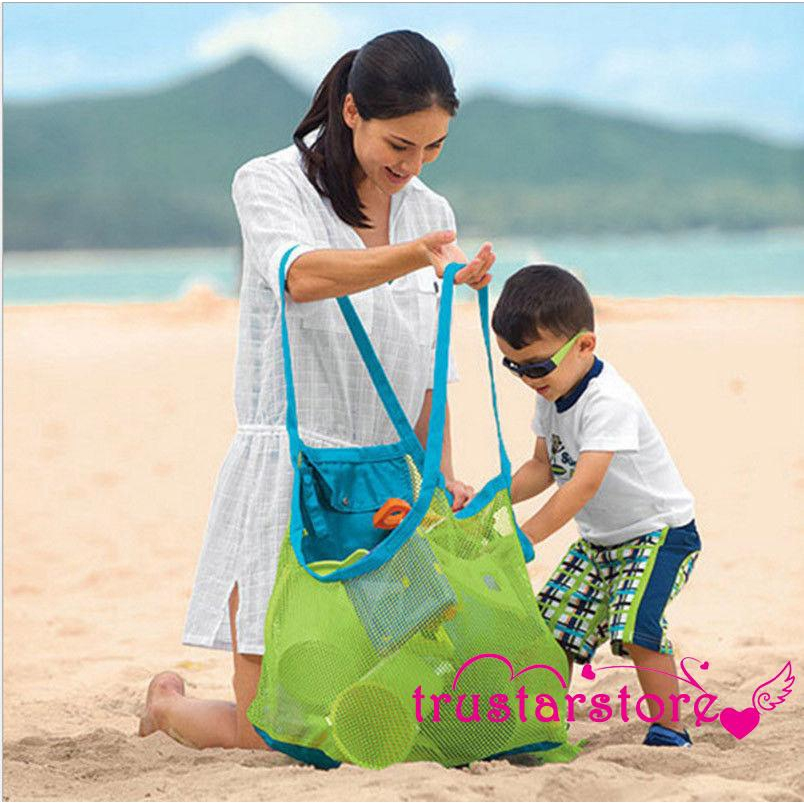 ✦ZWQLARGE MESH BAGS CHILDREN TOYS BEACH SAND AWAY SHOULDER STORAGE NET BAGS MODERN