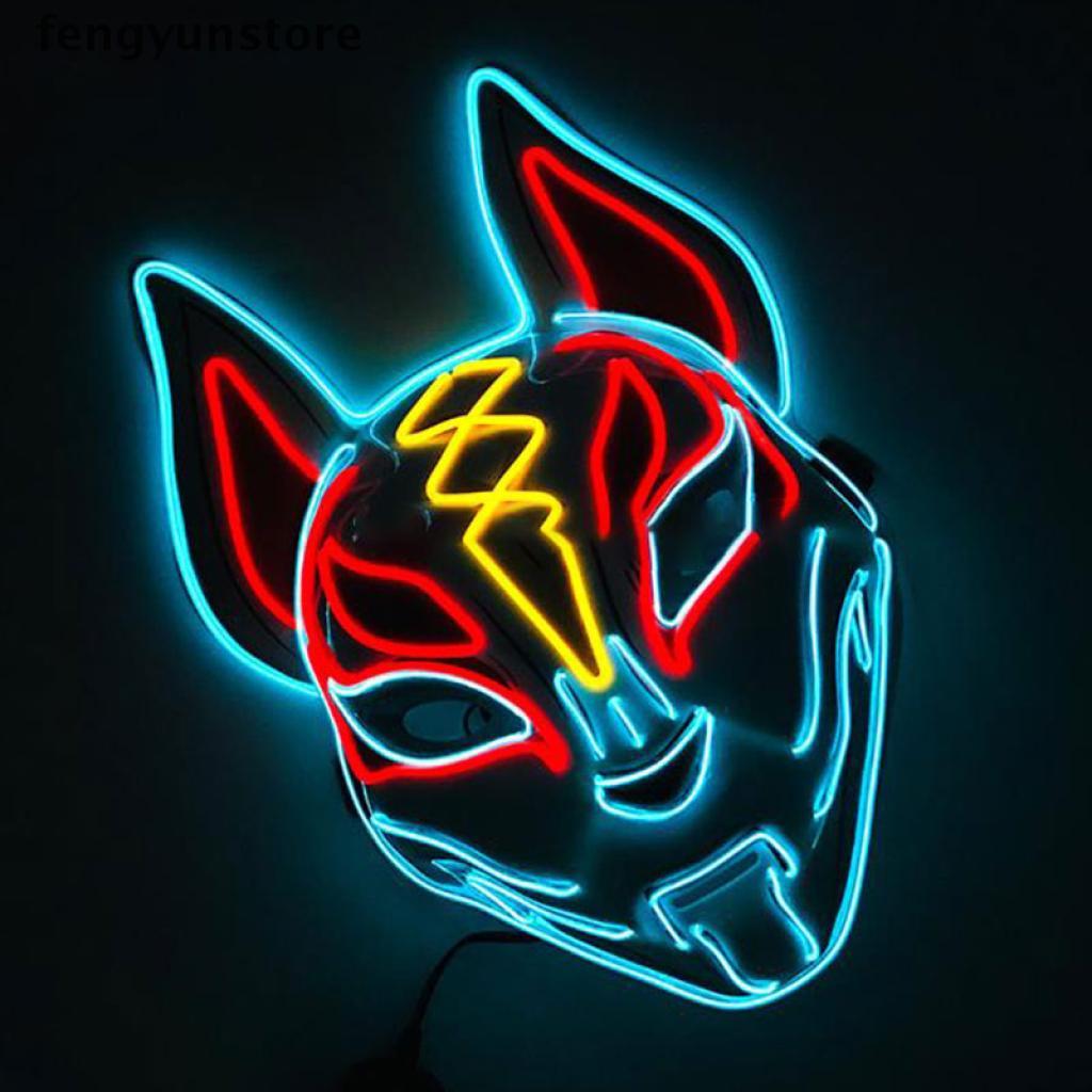 fengyunstore Fox Mask Neon Led Light Cosplay Mask Halloween Party Rave Led Mask .