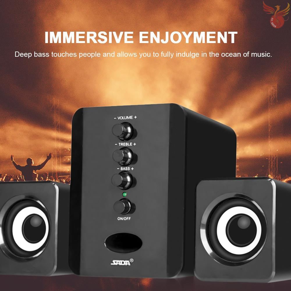 Black SADA D-202 Mini USB 2.1 Wired Combination Speaker Bass Music Subwoofer for Desktop Laptop Notebook Tablet PC Smart Phone