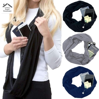 ready stock Portable Women Scarf with Pocket Infinity Scarf All Match Travel Journey Scaves