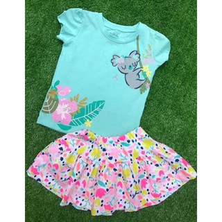 Bộ cotton trễ vai kèm chân váy các hình litibaby size 1-10T